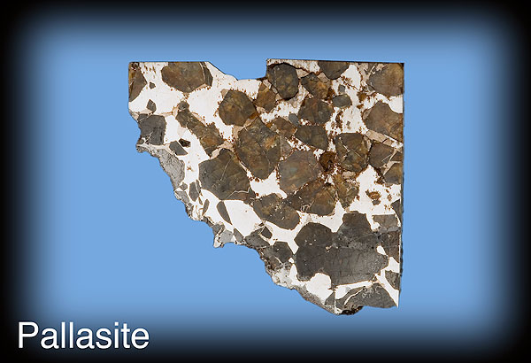 Pallasite meteorite section